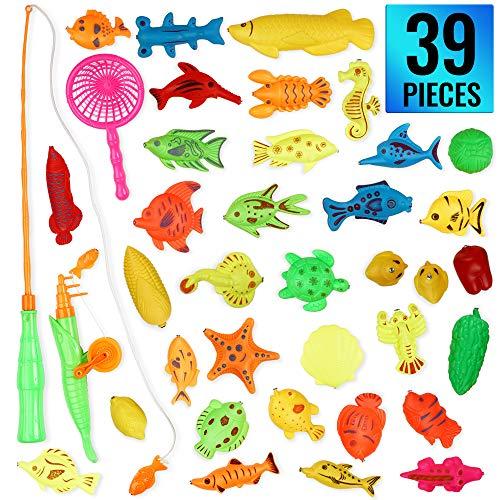 THE TWIDDLERS Giocattolo per Pesca Magnetica, 39 Pezzi - con Canna da Pesca Inclusa