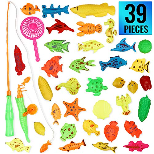 THE TWIDDLERS 39 Teile Magnetisches Angelspiel - badewannenspielzeug - Bath Toy Wasserdichtes Schwimmspielzeug in Der Badewanne - Bad, Pool, Sand, Strand Lernspiel Playset - Kleinkinder Kinder