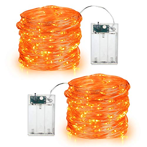 BrizLabs Orange Halloween Lights, 19.47ft 60 LED Orange Fairy Lights String, 2 Modes Battery Halloween String Lights, Indoor Silver Wire Twinkle Lights for Halloween Themed Party Carnival Decorations