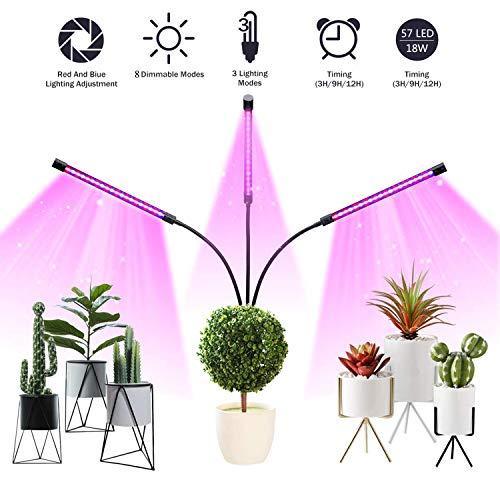 Pflanzenlampe 18W 57 LED 3 Automatisch Timer(3H/9H/12H),8 Stufen Helligkeit, 360°Einstellbar LED Pflanzenlicht für Garten Gewächshaus Zimmerpflanzen, Blumen,Hydrokultur,Gemüse und Bonsais Pflanzen