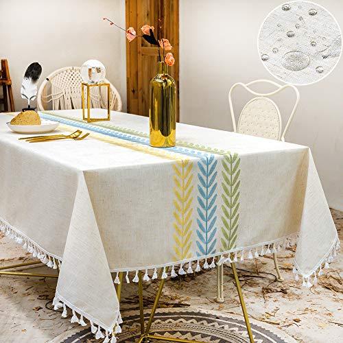 SUNBEAUTY Tischdecke 140x140 Quadratisch Abwaschbar Tischtuch Elegante Baumwolle Leinen Tischwäsche wasserdichte Tischdecke für Home Küche Speisetisch Dekoration