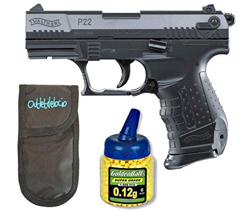 Outletdelocio. Umarex U25179. Pistola Airsoft Walther P22. Calibre 6mm. + Funda portabalines + 1000 balines. 23054/21993