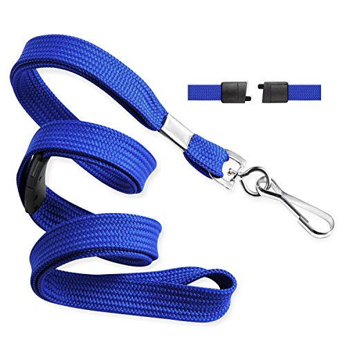 MIFFLIN Flat Breakaway Safety Lanyard for Face Mask & ID Badges (Blue, 36 Inch, 100 Pack), Soft Woven Neck Line