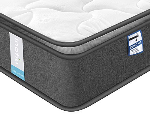 Inofia Mattress, Highly-breathable Single Pocketed Spring Mattress Pressure Relief with Zoned Support 8.7Inch Depth (100 NIGHTS TRIAL) (3FT(90x190x22cm))