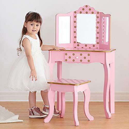 Teamson Kids Mode Tupfenmuster Gisele Spiel schminktisch mit LED-Spiegelleuchte - Rosa/Roségold, One Size