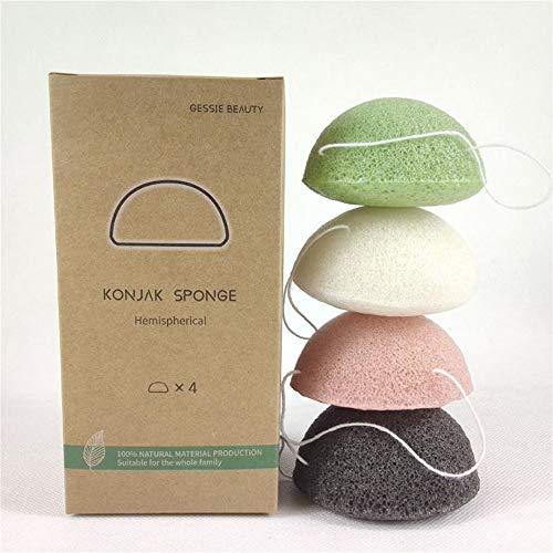 Jsdoin Juego de esponjas Konjac – 4 esponjas naturales exfoliantes y limpiadoras para la cara y el cuerpo, incluyendo carbon de bambu y te verde, suave y no dana la piel