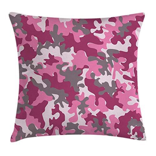 GOSMAO Funda de cojín de Camuflaje para Almohada, patrón en Tonos Rosados, diseño Femenino, Vibrante y Decorativa, Funda de Almohada Decorativa Cuadrada, Rosa Magenta 18 x 18 Pulgadas