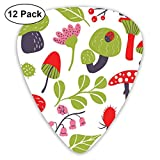 Guitar Picks - Abstract Art Colorful Designs,Forest Figures Pink Toned Thistle Lily Of The Valley Berry And Snails,Unique Guitar Gift,For Bass Electric & Acoustic Guitars-12 Pack