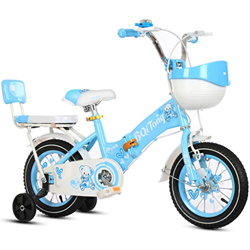 Kinderfahrräder, faltbar 2-12 Jahre Alten Mädchen mit einem Fahrradbremse Anti-Rutsch-Roll Baby Fahrrad mit Stützrädern und Rücksitz