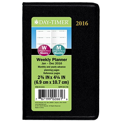 DayTimer Mini Weekly Planner 2016, 3 x 4.5 Inches Page Size (133311601)