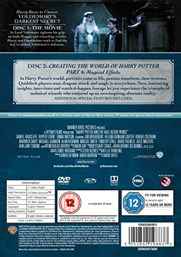 Harry Potter and the Half Blood Prince [Year 6] [2016 Edition 2 Disk] [DVD] [2009]