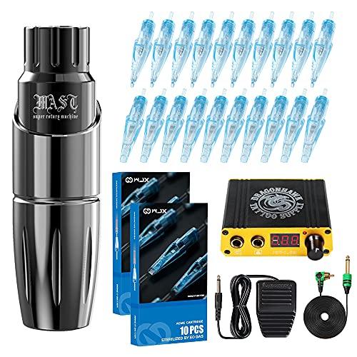 Dragonhawk Tattoo Pen Kit Rotary Mast Tour Tattoo Machine 20Pcs Wjx Cartridges Needles Power Supply Foot Pedal Professional Complete Tattoo Kit D366