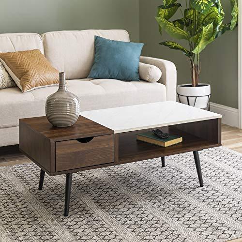 Modern Coffee Table with Drawer Living Room Ottoman Storage Shelf, 42 Inch, Dark Walnut/Marble
