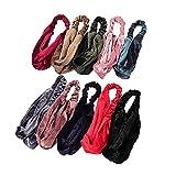 HAIRAN 10 unidades de cinta para el pelo para mujer, deportiva, con nudos, elásticas, vintage, terciopelo dorado, suave, para uso diario, yoga, deporte