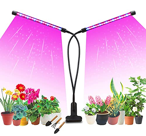 ganboeu Doppelkopf Pflanzenlampe,20W 40 LED Pflanzenleuchte,Grow Light Wachstumslampe Vollspektrum Pflanzenlicht 360°Einstellbar UV Lampe Pflanzen Vollspektrum Anzuchtlampe