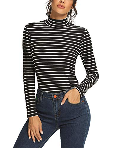 SEVEGO Women's Mock Neck Shirts Long Sleeve Sweater Stretchy Undershirts Striped Slim Fit Solid Tee Tops, A-Black, L