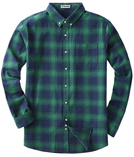MOCOTONO Men's Long Sleeve Flannel Plaid Dress Shirt Western Button Down Shirts Green Large