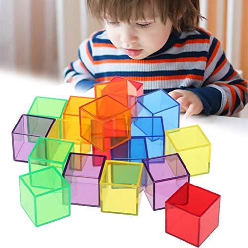 Yuanqu Bloques de construcción para niños Montessori de 4 CM, Cubo de sólidos geométricos, Juguete de Seguridad, Cubo Colorido Transparente Duradero, Bloques de construcción, Juguete de intelecto