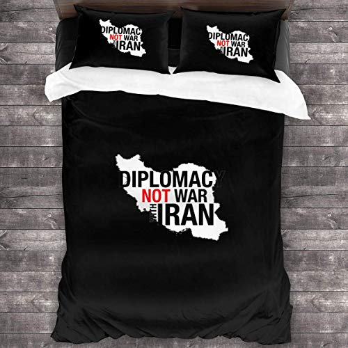 LZMM Hojas Give Diplomacy A Chance No War with Iran 3 Piece Bedding Sets Natural Cotton Floral Ultra Soft Comfortable and Breathable