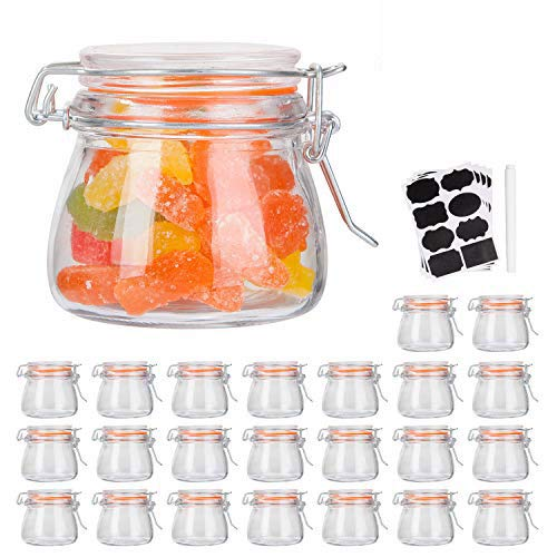 Small Glass Jars With Airtight Lids,Encheng Glass Spice Jars 5 oz,Maosn Jars With Leak Proof Rubber Gasket 150ml,Glass Storage Containers With Hinged Lid,Mini Kitchen Canisters 24 Pack …