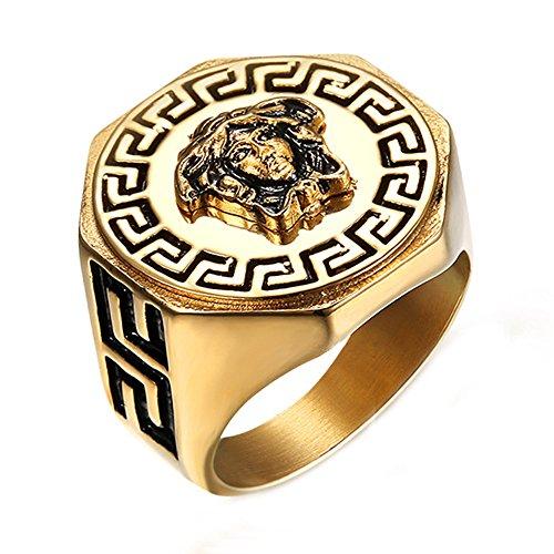 ZNKVJ Männer Titan Stahl Griechischen Mythologie Gold Medusa Avatar Ringe,Größe 75(23.9)