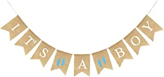 Uniwish It's A BOY Banner Burlap Fabric, Rustic Hanging Bunting Christening Garland Baby Shower Party Decorations for Baby Boy with Blue Footprint
