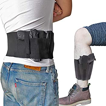 Bundle of Belly Band + Ankle Holster Concealed Carry with Magazine Pocket/Pouch for Women Men Compatible with Glock Ruger LCP M&P Shield Sig Sauer Ruger Kahr Beretta 1911 etc