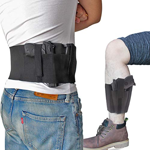 CREATRILL Bundle of Belly Band + Ankle Holster, Concealed Carry with Magazine Pocket/Pouch for Women Men Fits Glock, Ruger LCP, M&P Shield, Sig Sauer,...