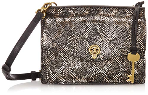 Fossil Women's Stevie Leather Crossbody Handbag, Silver