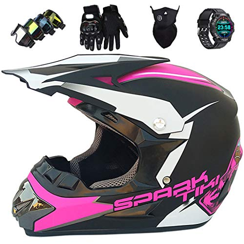KIVEM Casco Integral MTB, Casco de Motocross Niños Adultos, Negro Mate Rosa Todoterreno Motocicleta Juego de Casco con Reloj Inteligente, para Dirt Bike MX Quad Downhill Enduro Racing,Large