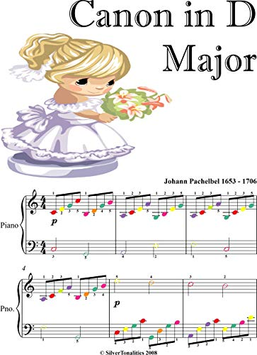 Canon in D Major Easy Piano Sheet Music with Colored Notes (English Edition)