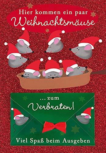Tarjeta de dinero para Navidad, diseño de ratones de Navidad, Sobre: 11,6...
