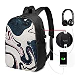 asfg Resistente a Las Manchas Fashion Mini USB Charging Laptop Backpack, Lightweight Travel Waterproof School Backpack for Women/Girls/Business The Ancient Art of Marbling