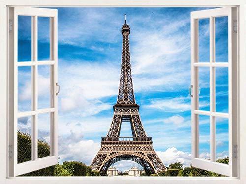 wcylj DIY Handgemalt Ölgemälde Kits Pariser Turm Vor Dem Fenster Malen Nach Zahlen Erwachsene Für Erwachsene Kinder Kits Home Haus Dekor-40 * 50Cm Ohne Rahmen