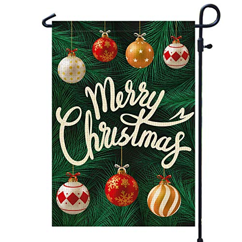 PAMBO Merry Christmas Garden Flags Burlap, 12x18 Double Sided Flag for Christmas Outside Yard Outdoor Decoration