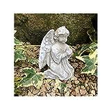 Radami, angelo tomba o croce commemorativa decorazione tomba cuore per tomba con 2 fili rigidi da fissare o inserire nel terreno (angelo grigio/bianco)