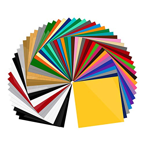 "55 Pack 12"" X 12"" Premium Permanent Self Adhesive Vinyl Sheets-Assorted Colors for Craft Cutters,Printers,Letters,Decals (55 Pack)"
