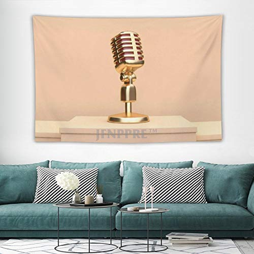 Tapestry Wall Hanging, Retro Mic Microphone Set Radio City Art Tapestries Wall Decor for Dorm Living Room Bedroom 150x100 cm