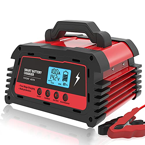 ATian Smart Battery Charger 12V 20A 24V 10A Automatic Battery Maintainer Auto-Volt Detection, LDC Display Tester compatibal Car Motorcycle Lawn Mower AGM Gel Deep Cycle Lead Acid Batteries (Red)