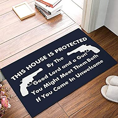 This House is Protected - Good Lord and A Gun Sign Doormats Entrance Front Door Rug Outdoors/Indoor/Bathroom/Kitchen/Bedroom/Entryway Floor Mats,Non-Slip Rubber,Low-Profile (23.6 x 15.7, Blue&White)