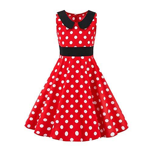 Mädchen Vintage 1950er Jahre Kleid Polka Dots Blumendruck Partykleid Prinzessin Baumwolle Hochzeit Geburtstag Abendkleid A Linie Ärmelloses...