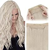 Sunny 18inch Hair Extensions Real Human Hair Platinum Blonde Transparent Fish...