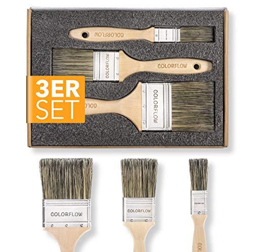 Colorflow® Lasurpinsel Set 3-teilig - Hochwertige Flachpinsel - Pinsel zum Holz streichen - Pinsel für Lasur - Pinselset Maler - Malerpinsel Set für den Profi