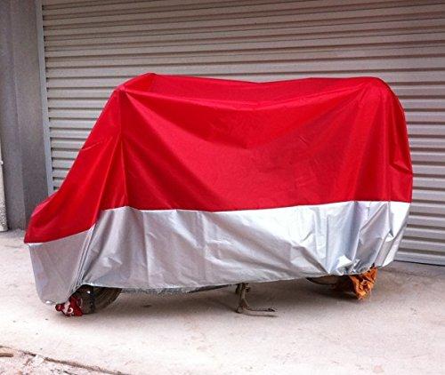Motorradabdeckung Motorrad Abdeckplane, Winter wasserdicht Roller Regenschutz Sonnenschutz für Alle Motorräder (Rot und Silber) (XXL: 265 * 105 * 125CM)