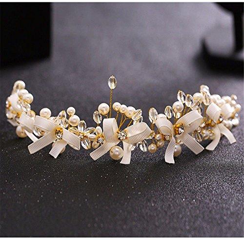 Weddwith Accessoires de coiffure Mariée Coiffure Style européen Nuptiale Robe coréenne Mariée Coiffure Mariée Artisanat Cristal Perles & Sweet Mariée Marié