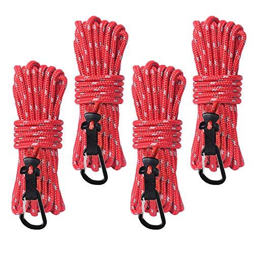OVBBESS Cuerda de nylon reflectante con mosquetón Carpa cuerda de tracción fija cuerda a prueba de viento para tienda de campaña al aire libre