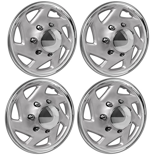 OxGord 16 inch Hubcaps Best for 2007-2014 Ford E150 - (Set of 4) Wheel Covers 16in Hub Caps Silver Rim Cover - Car Accessories for 16 inch Wheels - Snap On Hubcap, Auto Tire Replacement Exterior Cap