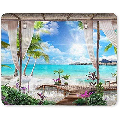 Gjid Palm voor de Vista op zee van zonnebloemen en transparante gordijnen, voor laptops, antislip, muismatjes/muismat voor dames