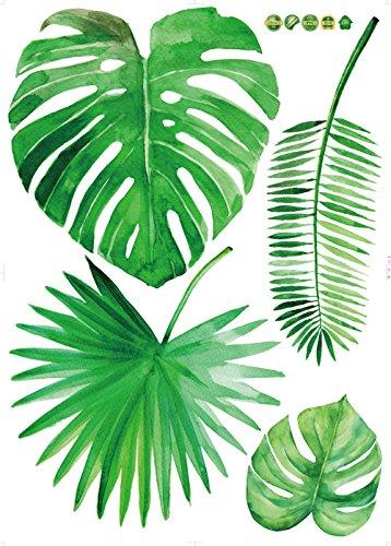 Styledress DIY Grüne tropische Palme Pflanze verlässt Wandaufkleber für Sofa Hintergrund Wand/Schrank/Tür Dekor Kinderzimmer Dekoration Badezimmer Wandtattoo Home Decoration Poster