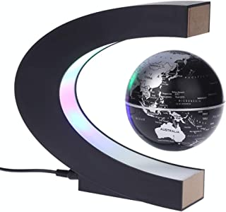 "3"" Magne-tic Levitation Floating Globe with C-Shaped Based LEDs Light Levitating World Map Globe for Home Office Desk Deco..."